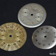 Recambios de relojes: VINTAGE - LOTE - 3 ESFERAS / DIALES - PRECIOSOS - BAUME & MERCIER BICOMPAX - DOGMA BICOMPAX Y OMEGA. Lote 121712047