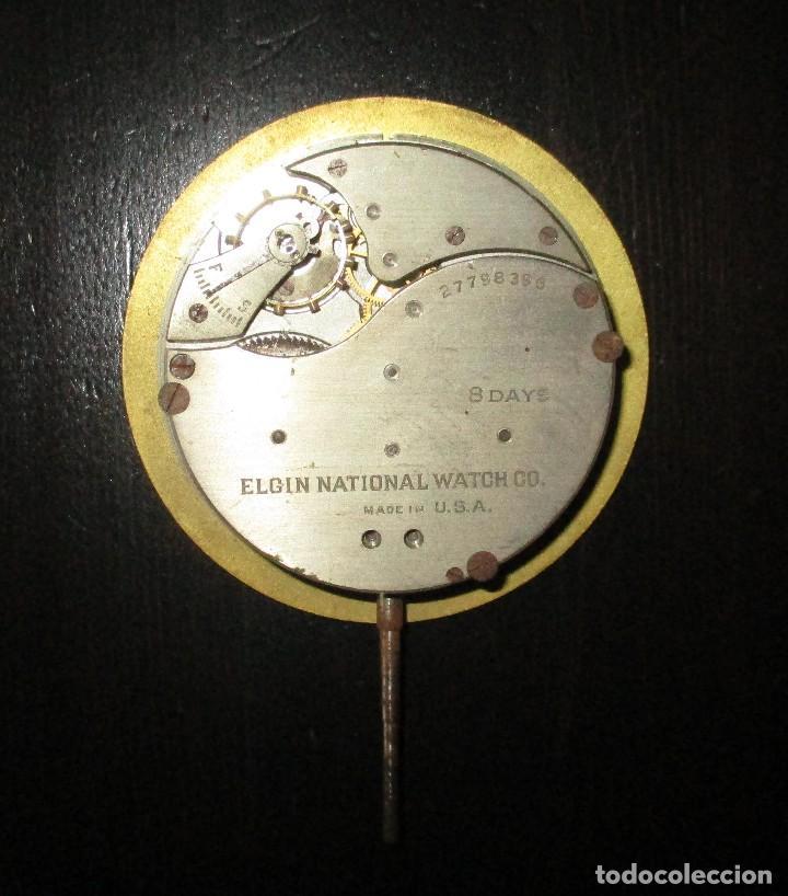 Recambios de relojes: MAQUINARIA DE RELOJ ELGIN 8 DAYS DE TABLERO DE AUTO CLÁSICO. ORIGINAL DE 1925. - Foto 4 - 121914311