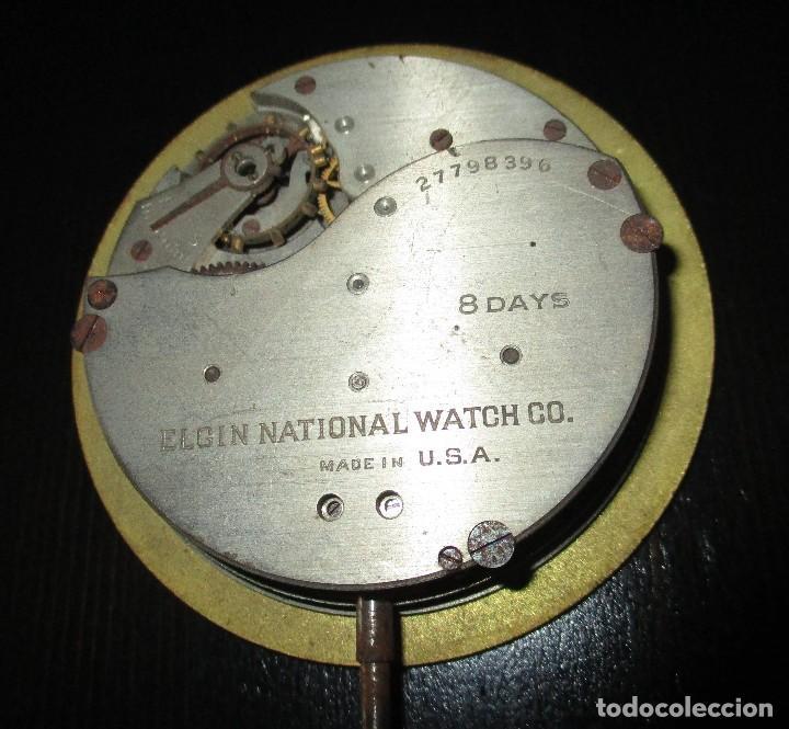 Recambios de relojes: MAQUINARIA DE RELOJ ELGIN 8 DAYS DE TABLERO DE AUTO CLÁSICO. ORIGINAL DE 1925. - Foto 5 - 121914311