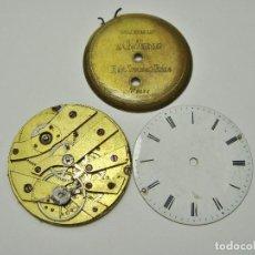 Recambios de relojes: ANTIGUA MAQUINARIA, TAPA Y ESFERA DE RELOJ DE BOLSILLO ANTIGUO. . Lote 121917639