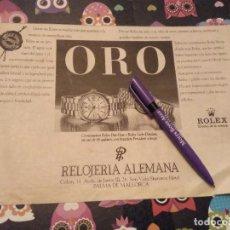 Recambios de relojes: ANTIGUO ANUNCIO PUBLICIDAD AÑO 88 RELOJES ROLEX DAY DATE Y LADY DATEJUST RELOJERIA ALEMANA MALLORCA. Lote 124618723