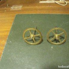 Recambios de relojes: 2 ENGRANAJES PARA RELOJ MOREZ DE PESAS- AÑO 1880-LOTE 84. Lote 126732687