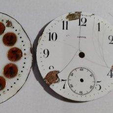 Recambios de relojes: 3 ESFERAS DE RELOJES DE BOLSILLOS: MARINO PATENT , OMEGA , Y OTRA . / VER LAS FOTOS .. Lote 128167671