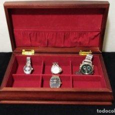 Recambios de relojes: PRECIOSA CAJA PARA RELOJES CON TAPA RAÍZ Y 4 RELOJES. Lote 132603558