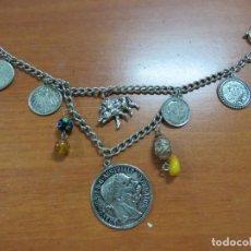Recambios de relojes: PRECIOSA CHATELAINE-LEONTINA COMPLETA DE PLATA CON MONEDAS Y COLGANTES, DE 1900, PESA 72 GR. Lote 135218954