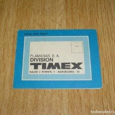 Recambios de relojes: GARANTIA RELOJ TIMEX.. Lote 137255218