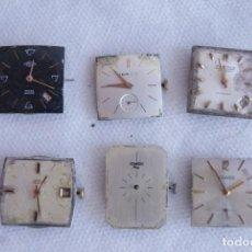 Recambios de relojes: LOTE DE 6 CALIBRES MECANICOS CUADRADOS CABALLERO FUNCIONAN D3. Lote 137888410