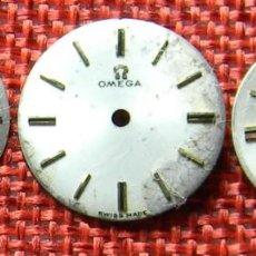 Recambios de relojes: LOTE DE ESFERAS ORIGINALES OMEGA PARA RECAMBIO - RELOJ DE PULSERA CARGA MANUAL - 15, 16 Y 17,50 MM. Lote 137910858