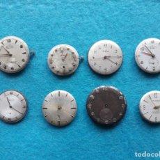 Recambios de relojes: LOTE DE 8 MÁQUINAS Y ESFERAS DE RELOJES ANTIGUOS DE CABALLERO. Lote 137970058
