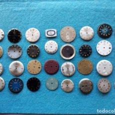Recambios de relojes: LOTE DE 32 ESFERAS ANTIGUAS PARA RELOJES DE CABALLERO. Lote 138531186