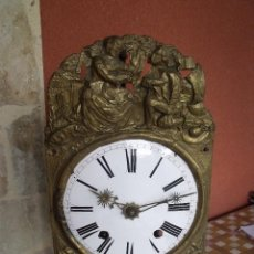 Recambios de relojes: ANTIGUA MAQUINARIA MOREZ DE PESAS -AÑO 1870- LOTE 131- FRONTAL MOTIVOS MARINEROS. Lote 142229126