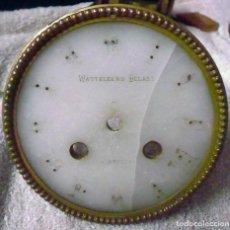 Recambios de relojes: ESFERA ALABASTRO CON MARCO DE LATÓN, PARA MÁQUINA PARÍS. Lote 142520802