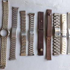 Recambios de relojes: LOTE DE 9 CORREAS DE RELOJ PARA CABALLERO VINTAGE. Lote 147056286