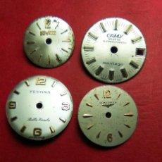 Recambios de relojes: ESFERAS SRA. VINTAGE - 4 - DIFERENTES MARCAS. Lote 147649846