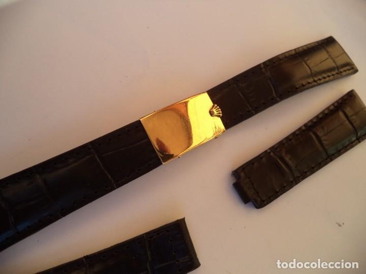 Recambios de relojes: Cierre desplegable Rolex Day Date, o Rolex Date Just de 36 mm. Oro 18 Kilates, y brazalete de piel - Foto 4 - 149887250