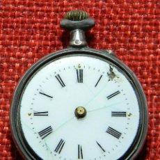 Recambios de relojes: ANTIGUO RELOJ DE SRA. CAJA DE PLATA. ESFERA PORCELANA. 1910 - 20 G - 30 MM - PIEZAS. Lote 150146710