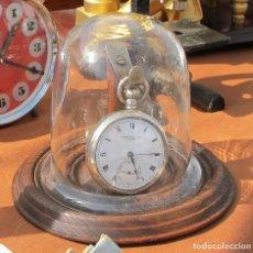 Recambios de relojes: SOPORTE PORTA RELOJ BOLSILLO MADERA, BRONCE Y FANAL CRISTAL. Lote 152590230
