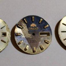 Recambios de relojes: LOTE DE TRES ESFERA : RICOH,ORIENT,SEIKO /AUTOMATICOS. 28,9,28,6,29,7 M/M.Ø. Lote 153544434