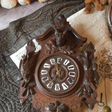 Recambios de relojes: ANTIGUO Y UNICO RELOJ HENRI II ROBLE CON TALLAS MADERA- TOFEOS CAZA-- AÑO 1890- FUNCIONA. Lote 154659442