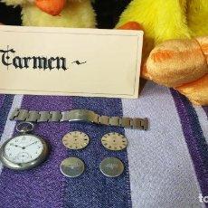 Recambios de relojes: LOTE LONGINES, 1 RELOJ, 2 ESFERAS, 2 TAPAS CON CUERDA CREO Y ARMIS O CORREA DE CABALLERO TODO. Lote 157736442