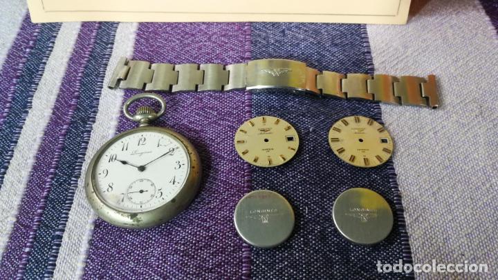 Recambios de relojes: LOTE LONGINES, 1 reloj, 2 esferas, 2 tapas con cuerda creo y armis o correa de caballero todo - Foto 2 - 157736442