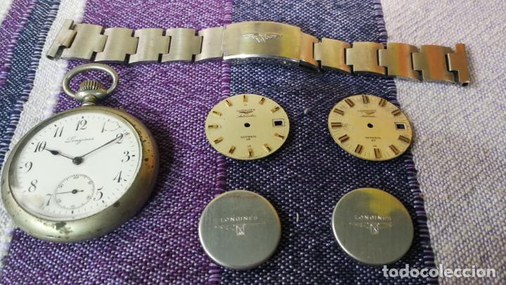 Recambios de relojes: LOTE LONGINES, 1 reloj, 2 esferas, 2 tapas con cuerda creo y armis o correa de caballero todo - Foto 3 - 157736442