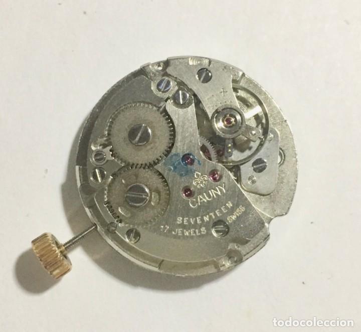 Recambios de relojes: MOVIMIENTO FIRMADO CAUNY CAL. AS/ST 1950/51. FUNCIONA. - Foto 3 - 157752882