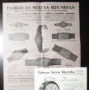 Recambios de relojes: DOS HOJAS PUBLICITARIAS DE RELOJES DE LAS FÁBRICAS SUIZAS REUNIDAS DE HERNANI. AÑOS 40.. Lote 158727606