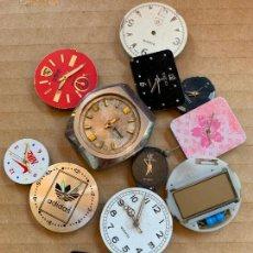 Recambios de relojes: LOTE DE 12 ESFERAS DE RELOJ ALGUNAS CON MECANISMO, IDEAL PRA RECAMBIOS. DIFERENTES MARCAS. Lote 165947446