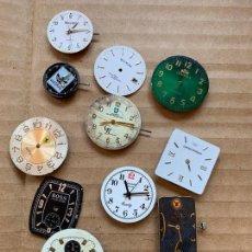 Recambios de relojes: LOTE DE 13 ESFERAS DE RELOJ ALGUNAS CON MECANISMO, IDEAL PRA RECAMBIOS. DIFERENTES MARCAS. Lote 165955126