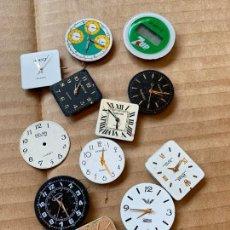 Recambios de relojes: LOTE DE 12 ESFERAS DE RELOJ ALGUNAS CON MECANISMO, IDEAL PRA RECAMBIOS. DIFERENTES MARCAS. Lote 165956354