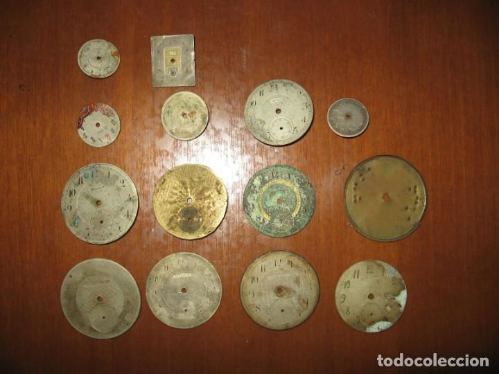 LOTE DE ESFERAS PARA RELOJES DE BOLSILLO Y PULSERA ANTIGUAS. (Relojes - Recambios)