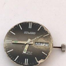 Recambios de relojes: MAQUINARIA RELOJ DUWARD DOBLE CALENDARIO CARGA MANUAL. Lote 173447105