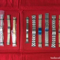 Recambios de relojes: LOTE 11 ARMIS ACERO CROMADOS/DORADOS PARA RELOJ DE PULSERA. Lote 178794058
