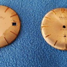 Recambios de relojes: 182-LOTE 2 ESFERAS RELOJ CAUNY - LORD Y LA CHAUX DE FONS, ANCRE-15 RUBÍS (PARA RESTAURAR). Lote 178903200