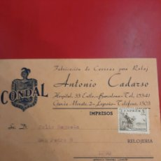 Recambios de relojes: LOGROÑO FABRICA DE CORREAS CONDAL RELOG ANTONIO CADARSO DIRIGIDO A LUGO. Lote 179131673