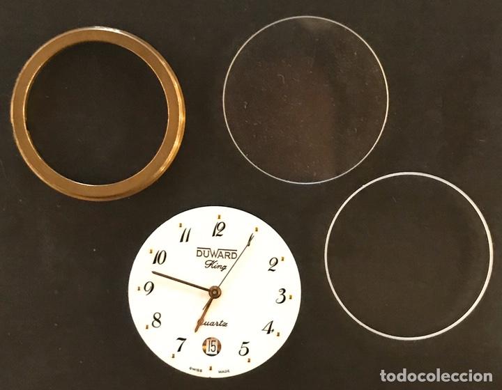Recambios de relojes: Maquinaria duward king quartz, en perfecto estado, con cristal y accesorios - Foto 3 - 181109536