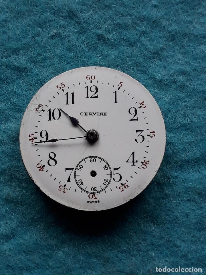 Recambios de relojes: Maquinaria antigua para reloj de bosillo marca Cervine + esfera de porcelana. - Foto 4 - 181399608