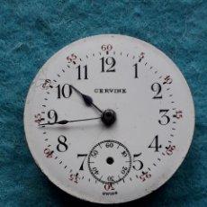Recambios de relojes: MAQUINARIA ANTIGUA PARA RELOJ DE BOSILLO MARCA CERVINE + ESFERA DE PORCELANA.. Lote 181399608