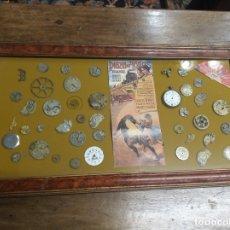 Recambios de relojes: DECORATIVO CUADRO LLENO DE DESPIECES DE RELOJES DE BOLSILLO. GRAN CANTIDAD DE REPUESTOS. 66 X 36 CM.. Lote 181418291