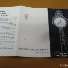 Recambios de relojes: CERTIFICADO RELOJES ALMACENES JORBA MANRESA AÑOS 60. Lote 181580216