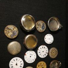 Recambios de relojes: LOTE DE PIEZAS Y CAJA DE RELOJES DE BOLSILLO. Lote 182722875