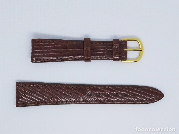 Recambios de relojes: Correa de reloj vintage hombre varón masculino marrón 18 mm Lagarto Legítimo - Foto 2 - 184599061