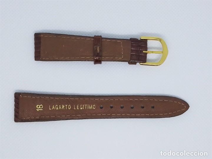 Recambios de relojes: Correa de reloj vintage hombre varón masculino marrón 18 mm Lagarto Legítimo - Foto 3 - 184599061