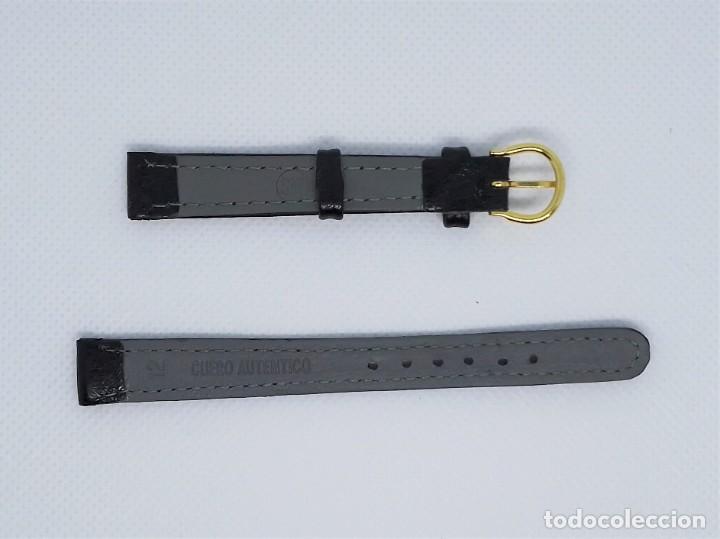 Recambios de relojes: Correa de reloj vintage mujer femenina negro 12 mm Cuero Auténtico MS - Foto 3 - 184603397
