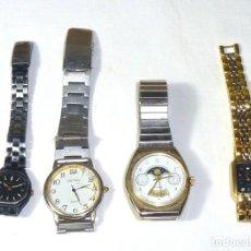 Recambios de relojes: 4 RELOJES PARA REPARAR O PIEZAS.QUARTZ.. Lote 194890631