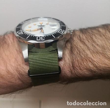 Recambios de relojes: Correa reloj de 22mm tipo NATO en color olive drab – verde militar. Nueva a estrenar. - Foto 5 - 195055348