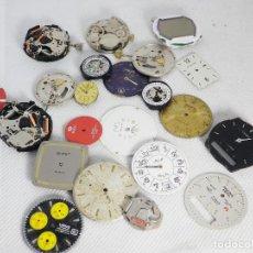 Recambios de relojes: LOTE DE ESFERAS Y MAQUINAS MECANICAS Y CUARZO RESTAURACION O PIEZAS LOTE WATCHES. Lote 195433512