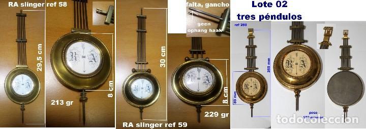 LOTE DE 3 PÉNDULOS ANTIGUOS PARA RELOJES DE PARED, REF 02 (Relojes - Recambios)