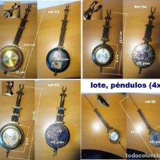 Recambios de relojes: LOTE DE 4 PÉNDULOS ANTIGUOS PARA RELOJES DE PARED, REF 01. Lote 199968406